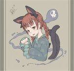 1girl 2018 absurdres animal_ears bangs black_ribbon blunt_bangs braid breasts cat_ears cat_tail commentary_request cropped_tail cropped_torso dated dress extra_ears eyebrows eyelashes fang fingernails frilled_sleeves frills from_side graphite_(medium) green_dress grey_background hair_ribbon head_down highres jitome kaenbyou_rin line_shading looking_at_viewer multiple_tails open_clothes outline paw_pose red_eyes red_hair ribbon sharp_fingernails skull sleeves_past_wrists slit_pupils small_breasts solo spirit tail touhou traditional_media twin_braids two_tails upper_body wei_cheng
