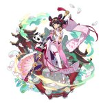 1girl artist_request blue_eyes brown_hair china_dress chinese_clothes dragalia_lost dress fan lin_you long_sleeves looking_at_viewer non-web_source official_art pagoda panda solo standing transparent_background wide_sleeves