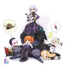 1boy 5girls :d >_< abigail_williams_(fate/grand_order) absurdres agung_syaeful_anwar alice_in_wonderland armor bangs bare_shoulders bell beret bikini_top black_bikini_top black_bow black_cloak black_dress black_footwear black_gloves black_headwear blonde_hair blush book bow braid brown_eyes brown_hair bull capelet chaldea_uniform cloak closed_eyes commentary crossed_legs dress elbow_gloves english_commentary eyebrows_visible_through_hair fate/apocrypha fate/extra fate/grand_order fate_(series) food forehead fujimaru_ritsuka_(female) gloves glowing glowing_eyes gothic_lolita green_bow green_eyes green_ribbon hair_bow hat headpiece highres ice_cream ice_cream_cone jack_the_ripper_(fate/apocrypha) jacket jeanne_d'arc_(fate)_(all) jeanne_d'arc_alter_santa_lily king_hassan_(fate/grand_order) knife_in_head lolita_fashion long_hair looking_at_another low_twintails lying multiple_girls nursery_rhyme_(fate/extra) on_lap on_stomach one_side_up open_book open_mouth orange_bow parted_bangs pink_hair ribbon saint_quartz shirt shoe_soles shoes shoulder_tattoo silver_hair skull sleeping sleeveless sleeveless_shirt smile soft_serve spikes spoken_object striped striped_bow striped_ribbon tattoo twin_braids twintails uniform very_long_hair wavy_mouth white_background white_capelet white_dress white_jacket