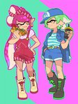 +_+ 2girls :q alternate_hairstyle aori_(splatoon) bandana baseball_cap black_footwear blue_hat blue_jacket blue_shirt blue_shorts boots brown_belt brown_eyes closed_mouth commentary cousins cross-laced_footwear cup disposable_cup domino_mask earrings emblem english_commentary eyebrows_visible_through_hair food food_on_face hand_in_pocket hand_on_hip hat holding holding_food hoop_earrings hot_dog hotaru_(splatoon) jacket jacket_on_shoulders jewelry lace-up_boots long_hair looking_at_another looking_at_viewer mask multiple_girls overall_shorts pastel_colors pointy_ears purple_shirt red_overalls shirt short_hair short_sleeves shorts side_ponytail smile splatoon squid standing striped striped_shirt tentacle_hair tongue tongue_out two-tone_background white_footwear wong_ying_chee