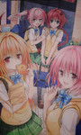 acrylic_paint_(medium) blonde_hair blue_eyes braid canvas_(medium) hair_ornament highres konjiki_no_yami kurosaki_mea long_hair momo_velia_deviluke multiple_girls nana_asta_deviluke open_mouth pink_hair red_hair smile to_love-ru to_love-ru_darkness traditional_media very_long_hair