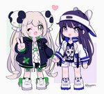 2girls ;d animal_ears animal_hat bangs black_jacket black_legwear black_shirt black_shorts blue_eyes blue_legwear blush blush_stickers bunny_ears bunny_hat captain_yue chibi closed_mouth clothes_writing eyebrows_visible_through_hair fake_animal_ears fang green_eyes hair_between_eyes hair_ornament hat heart holding_hands jacket light_brown_hair long_hair long_sleeves multiple_girls one_eye_closed open_clothes open_jacket open_mouth original panda_hair_ornament print_shirt puffy_long_sleeves puffy_sleeves purple_hair shirt shoes short_shorts shorts sidelocks sleeves_past_wrists smile socks tongue tongue_out twintails twitter_username v-shaped_eyebrows very_long_hair visor_cap white_footwear white_headwear white_jacket white_shirt