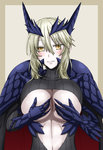 1girl armor artoria_pendragon_alter_(fate/grand_order) blonde_hair blush breasts cleavage fate/grand_order fate_(series) hand_on_own_chest hasebe_akira highres huge_breasts invitation navel nipples saber saber_alter smile solo stomach torn_clothes yellow_eyes