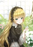 1girl :/ akano_sakura bangs black_dress black_hairband black_ribbon blonde_hair blunt_bangs blurry blurry_background bush center_frills closed_mouth collared_dress dress eyebrows_visible_through_hair eyelashes fingernails flower frilled_hairband frilled_sleeves frills gosick gothic_lolita green_eyes greenhouse hairband hand_up holding holding_pipe horizontal_stripes indoors lolita_fashion lolita_hairband long_hair looking_at_viewer pink_flower pipe ribbon solo striped tsurime upper_body very_long_hair victorian victorica_de_blois white_flower