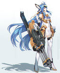 1girl ahoge android blue_hair boots breasts elbow_gloves full_body gloves highres holding holding_weapon kos-mos kos-mos_ver._4 long_hair looking_to_the_side ohse red_eyes solo standing thigh_boots thighhighs very_long_hair weapon xenosaga xenosaga_episode_iii