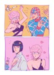1girl 2boys blue_eyes blush bruno_buccellati guido_mista heart highres jojo_no_kimyou_na_bouken multiple_boys oniyama831 pink_hair pout short_hair trish_una vento_aureo