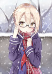 1girl adjusting_glasses ahoge black-framed_eyewear blonde_hair dark_persona fate/grand_order fate_(series) glasses heroine_x heroine_x_(alter) highres jacket looking_at_viewer plaid plaid_scarf red_scarf rong_yi_tan saber saber_alter scarf school_uniform semi-rimless_glasses serafuku snowing solo under-rim_glasses yellow_eyes