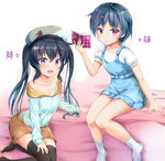 2girls :d beret black_hair black_legwear blue_dress blue_hair book collarbone commentary dress eyebrows_visible_through_hair fang hair_between_eyes hair_ornament hairclip hat long_hair looking_at_viewer migumi_(niiya) minami_(niiya) multiple_girls niiya no_shoes off_shoulder open_book open_mouth original puffy_short_sleeves puffy_sleeves purple_eyes short_hair short_sleeves siblings sisters sitting smile socks thighhighs translated twins twintails white_legwear