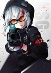 1girl acog aiming_at_viewer bleeding blood blood_on_face broken_eyewear character_name fingerless_gloves girls_frontline glasses gloves gun highres hood hooded_jacket jacket kel-tec kel-tec_ksg ksg_(girls_frontline) nakiusagi shotgun solo weapon white_hair