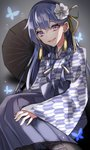 1girl alternate_costume alternate_hairstyle aogisa blue_hair braid bug butterfly commentary_request evil_smile flower girls_frontline hair_flower hair_ornament hair_ribbon hairclip highres insect japanese_clothes k11_(girls_frontline) kimono long_hair purple_eyes ribbon smile solo twin_braids umbrella