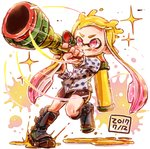 1girl :q bangs black_footwear black_shorts blue_shorts blunt_bangs boots commentary dated diffraction_spikes foreshortening gradient_hair harutarou_(orion_3boshi) highres holding holding_weapon ink_tank_(splatoon) inkling inkzooka_(splatoon) knee_boots light_blush long_hair motion_lines multicolored_hair pink_eyes pink_hair pointy_ears print_shirt running scope shirt shorts single_vertical_stripe solo sparkle splatoon_(series) splatoon_1 standing tentacle_hair tongue tongue_out v-shaped_eyebrows weapon yellow_headwear