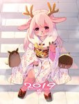 1girl 2019 animal_ears antlers boat braid commentary_request floral_print furry japanese_clothes kimono kishibe long_hair new_year obi open_mouth original outdoors paws pink_eyes pink_hair pink_kimono reindeer_antlers reindeer_ears sandals sash sitting smile stairs watercraft waving