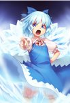 1girl aura bangs black_background bloomers blue_bow blue_dress blue_eyes blue_hair bow cirno commentary cowboy_shot dress eyebrows_visible_through_hair foreshortening glowing glowing_wings hair_bow hand_on_hip ice ice_wings kaiza_(rider000) looking_at_viewer neck_ribbon open_mouth pinafore_dress pointing pointing_at_viewer puffy_short_sleeves puffy_sleeves red_neckwear red_ribbon ribbon shirt short_hair short_sleeves solo standing touhou underwear v-shaped_eyebrows white_shirt wing_collar wings