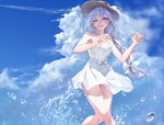 1girl :d ;d armpits bare_legs bare_shoulders blue_eyes blue_hair blue_sky braid breasts cloud cloudy_sky date_a_live day dress hair_between_eyes hair_ribbon hands_up hat hat_ribbon highres long_hair looking_at_viewer medium_breasts mikaisha one_eye_closed open_mouth outdoors ribbon silver_hair sky smile solo splashing straw_hat sundress takamiya_mio upper_teeth very_long_hair water white_dress white_ribbon