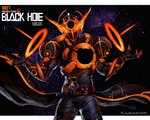 1boy armor belt black_hole breastplate chunk-san claws cowboy_shot energy_rings evolto facing_viewer full_armor glowing hand_up helmet kamen_rider kamen_rider_build_(series) kamen_rider_evol m87_black_hole male_focus neon_trim pauldrons rider_belt shoulder_spikes solo space spikes star starry_background tokusatsu