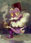 alternate_color clothed_pokemon commentary commission facial_hair froakie full_body gen_6_pokemon glitchedpuppet hat highres holding holding_pipe looking_at_viewer monocle mustache no_humans not_shiny_pokemon pipe plant pokemon pokemon_(creature) purple_skin rock signature sitting smoke smoking solo top_hat water yellow_eyes