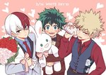 3boys :d bakugou_katsuki blazer blonde_hair blue_eyes boku_no_hero_academia bouquet bow bowtie dated flower formal freckles gift green_eyes green_hair grey_eyes heart heterochromia jacket male_focus midoriya_izuku multicolored_hair multiple_boys necktie nightcat open_mouth red_eyes red_flower red_hair red_rose rose smile stuffed_animal stuffed_bunny stuffed_toy suit todoroki_shouto two-tone_hair waistcoat white_day white_flower white_hair white_rose