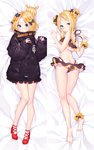 1girl abigail_williams_(fate/grand_order) ankle_scrunchie ass bangs bare_shoulders barefoot bed_sheet belt bikini black_bikini black_bow black_jacket blonde_hair blue_eyes blush bow cangqiong_zhihen dakimakura double_bun emerald_float fate/grand_order fate_(series) forehead full_body hair_bow hair_bun heroic_spirit_traveling_outfit high_heels jacket long_hair long_sleeves looking_at_viewer lying on_back open_mouth orange_bow parted_bangs polka_dot polka_dot_bow red_footwear scrunchie side_bun sleeves_past_wrists smile solo swimsuit wrist_scrunchie