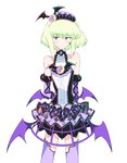 1boy bat_wings blonde_hair dress earrings frills gloves gothic gothic_lolita green_hair half_gloves jewelry lio_fotia lolita_fashion male_focus moon otakebi otoko_no_ko promare purple_eyes solo thighhighs wings
