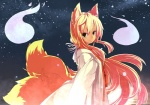 1girl animal_ears blonde_hair colorized fk fox_ears japanese_clothes multiple_tails night night_sky original sky solo tail yu-ves