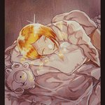 1other androgynous bed bed_sheet blonde_hair colored_eyelashes commentary_request crystal_hair highres houseki_no_kuni looking_at_viewer neyo_(1864_yynn) pillow short_hair sleepwear smile solo sparkle stuffed_animal stuffed_toy yellow_diamond_(houseki_no_kuni) yellow_eyes