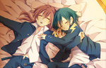 2boys alternate_hair_color aqua_hair belt brown_hair closed_eyes inazuma_eleven_(series) inazuma_eleven_go kariya_masaki kirino_ranmaru male_focus multiple_boys natsucha125 pillow sleeping twintails