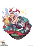 1girl artist_request blonde_hair character_request demon_tail demon_wings disgaea dress flonne flonne_(fallen_angel) flower long_hair one_eye_closed open_mouth outstretched_arms outstretched_leg red_eyes red_footwear star tail white_background wings wolf