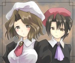 1boy 1girl ascot brown_eyes brown_hair hat hinata_nonoka kanon_(umineko) shannon short_hair umineko_no_naku_koro_ni