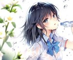 1girl bangs black_hair blue_eyes blue_neckwear bottle bow bowtie breasts collared_shirt eyebrows eyebrows_visible_through_hair flower holding_object looking_at_viewer looking_to_the_side medium_breasts nardack original shirt simple_background solo white_background white_shirt