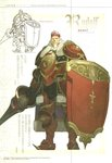 1boy armor beard cape character_name crown facial_hair fire_emblem fire_emblem_echoes:_mou_hitori_no_eiyuuou full_armor full_body gold_armor hidari_(left_side) highres long_hair male_focus non-web_source official_art polearm red_armor rudolf_(fire_emblem) scan shield sketch smirk weapon white_hair