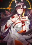 1girl absurdres akagi_(azur_lane) animal_ears azur_lane bangs black_hair blush breasts bride cleavage collarbone commentary dress eyebrows_visible_through_hair finger_to_mouth floating_hair fox_ears fox_tail gloves hair_ornament highres hood japanese_clothes kimono large_breasts long_hair looking_at_viewer multiple_tails no_bra numaguro_(tomokun0808) off_shoulder open_mouth reaching_out red_eyes ribbon shikigami smile solo tail tassel uchikake upper_body wedding_dress white_kimono wide_sleeves wind wind_lift wrist_ribbon
