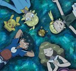 2boys 2girls arms_behind_head black_hair blonde_hair blue_eyes brown_hair citron_(pokemon) dedenne eureka_(pokemon) gen_1_pokemon gen_6_pokemon grass hands_clasped hat hat_removed headwear_removed highres long_hair looking_at_viewer lying moyori multiple_boys multiple_girls on_back own_hands_together pikachu pokemon pokemon_(anime) pokemon_(creature) pokemon_xy_(anime) satoshi_(pokemon) serena_(pokemon) side_ponytail