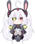 1girl :< absurdly_long_hair ahoge alternate_costume animal_ears azur_lane bailingxiao_jiu bangs black_footwear black_hairband blush boots bunny_ears chibi closed_mouth detached_sleeves eyebrows_visible_through_hair full_body green_eyes hair_between_eyes hairband heart heart-shaped_pupils heterochromia knee_boots laffey_(azur_lane) leotard long_hair long_sleeves looking_at_viewer red_eyes searchlight sidelocks simple_background sleeves_past_fingers sleeves_past_wrists solo standing symbol-shaped_pupils thighhighs thighhighs_under_boots twintails very_long_hair white_background white_legwear white_leotard wide_sleeves