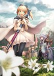 1girl 2boys ahoge armor artoria_pendragon_(all) black_legwear blonde_hair breasts caliburn cape cloud cloudy_sky day dress eyebrows_visible_through_hair fate/grand_order fate/stay_night fate_(series) flower gloves green_eyes grey_hair hair_ornament hair_ribbon highres holding holding_sword holding_weapon kay_(fate) knight lily_(flower) merlin_(fate/stay_night) migiha multiple_boys pink_eyes ponytail ribbon saber_lily sheath sky small_breasts smile sword weapon white_dress white_flower white_gloves white_hair