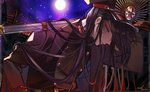 1girl belt black_hair cape double-breasted fate/grand_order fate_(series) full_moon gakuran glowing glowing_eye gun hat holding holding_gun holding_weapon koha-ace light_smile long_hair looking_at_viewer marchab_66 moon night oda_nobunaga_(fate) red_eyes school_uniform sky solo star_(sky) starry_sky very_long_hair weapon white_background