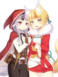 2girls animal_ears belt black_hair blonde_hair brown_gloves brown_hair cloak commentary_request fang fingerless_gloves fire_emblem fire_emblem_fates fox_ears fox_tail fur_trim gloves grey_hair hair_ornament highres holding_hands hood hood_up hooded_cloak japanese_clothes long_sleeves multicolored_hair multiple_girls open_mouth parted_lips pouch red_eyes selkie_(fire_emblem) shira_yu_ki short_hair simple_background streaked_hair tail velouria_(fire_emblem) white_background white_gloves wolf_ears wolf_tail yellow_eyes