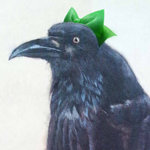 beak black_feathers bow fumie_(mikan_to_mu_83) green_bow lowres photorealistic raven_(animal) reiuji_utsuho reiuji_utsuho_(bird) solo touhou traditional_media white_background