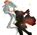 1girl bare_shoulders black_legwear black_skirt blue_hair closed_mouth commentary detached_sleeves fingernails food_themed_hair_ornament grey_eyes hair_ornament halloween hatsune_miku index_finger_raised long_hair long_sleeves looking_at_viewer lpip pumpkin pumpkin_hair_ornament shoulder_tattoo skirt smile solo star symbol_commentary tattoo thighhighs twintails very_long_hair vocaloid