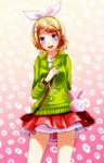1girl :d absurdres arm_behind_back blonde_hair blue_eyes blush cowboy_shot drawstring gradient gradient_background green_hoodie hair_ornament hair_ribbon heart heart_necklace highres hood hoodie jewelry kagamine_rin melancholic_(vocaloid) necklace open_mouth project_diva_(series) purple_eyes ribbon short_hair skirt smile solo tsukishiro_saika vocaloid white_ribbon x_hair_ornament
