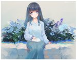 1girl arm_support bangs black_hair blue_eyes blue_flower blue_skirt blue_sweater book closed_mouth commentary_request dated eyebrows_visible_through_hair flower grey_background kisei2 long_hair long_sleeves looking_at_viewer open_book original puffy_long_sleeves puffy_sleeves purple_flower signature sitting skirt sleeves_past_wrists smile solo sweater