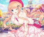 1girl ;d bag beret between_breasts black_bow blue_eyes blue_sky blush bow breasts cloud day floral_print fountain hair_bow handbag hat highres kimishima_ao large_breasts leaning_forward light_brown_hair long_hair long_sleeves looking_at_viewer one_eye_closed open_mouth original outdoors park pink_skirt plaid_bag print_skirt red_hat ribbed_sweater rose_print saijo_melia shoulder_bag shoulder_cutout skirt sky sleeves_past_wrists smile solo strap_cleavage sweater turtleneck turtleneck_sweater very_long_hair water white_bow white_sweater