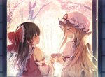 2girls :d ^_^ arm_ribbon bangs bare_shoulders black_hair blonde_hair blush bow closed_eyes commentary_request cup detached_sleeves dress eyebrows_visible_through_hair facing_another frilled_bow frilled_shirt_collar frills from_behind hair_between_eyes hair_bow hair_tubes hakurei_reimu hat highres holding holding_cup juliet_sleeves long_hair long_sleeves looking_at_viewer mob_cap multiple_girls open_mouth petals profile puffy_sleeves purple_eyes red_bow red_ribbon ribbon ribbon-trimmed_sleeves ribbon_trim sarashi shinoba sidelocks sliding_doors smile tabard touhou tree upper_body white_dress white_headwear wide_sleeves yakumo_yukari