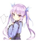 ... 1girl blue_kimono blue_ribbon blush brown_eyes closed_mouth darnell frilled_sleeves frills hair_ribbon hand_up highres hikawa_kyoka japanese_clothes kimono long_hair long_sleeves pleated_skirt pointy_ears princess_connect! princess_connect!_re:dive purple_hair purple_skirt ribbon sidelocks simple_background skirt solo spoken_ellipsis sweat twintails very_long_hair white_background wide_sleeves