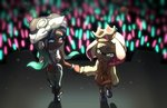 2girls bandana black_hair blurry blurry_background bokeh bracelet brown_eyes capri_pants cephalopod_eyes chain closed_mouth commentary_request crop_top crowd crown dark_skin depth_of_field dress fist_bump glowstick gradient_hair green_eyes green_hair grey_pants grin hime_(splatoon) iida_(splatoon) jewelry long_hair long_sleeves looking_at_another medium_hair multicolored_hair multiple_girls navel_piercing necklace pants partial_commentary pendant piercing pink_dress pink_hair pink_pupils shirt shoes short_dress sleeveless sleeveless_shirt smile splatoon_(series) splatoon_2 splatoon_2:_octo_expansion standing standing_on_one_leg suction_cups sweat sweater sweater_dress turtleneck ukata walking white_footwear white_hair white_shirt