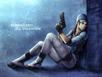 1girl air_tone beretta_92 black_eyes brown_hair character_name copyright_name fingerless_gloves full_body gloves gun handgun hat jill_valentine ponytail pouch resident_evil sitting solo trigger_discipline weapon