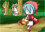 1boy 2girls animal_costume aqua_hair basket big_bad_wolf_(cosplay) big_bad_wolf_(grimm) blonde_hair cape chibi_miku comic gun hair_ornament hairclip hat hatsune_miku hunter_(little_red_riding_hood) hunter_(little_red_riding_hood)_(cosplay) kagamine_len kagamine_rin kneehighs little_red_riding_hood little_red_riding_hood_(cosplay) little_red_riding_hood_(grimm) minami_(colorful_palette) multiple_girls open_mouth rifle tree vocaloid weapon wolf_costume |_|