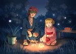 1boy 1girl absurdres agate_crosner bandana blonde_hair blue_kimono bow brown_eyes brown_hair collarbone dark_skin eiyuu_densetsu fireworks food forest fruit full_body hair_bow highres japanese_clothes kimono nature night obi open_mouth outdoors pink_kimono pouch red_bow sash short_hair_with_long_locks sky smile spiked_hair squatting tita_russell tree watermelon yukata