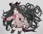 1girl absurdres black_hair black_legwear black_skirt blood blood_on_face bloody_clothes cardigan demon_girl earrings fingernails grey_background hair_over_one_eye highres horns jewelry kesuno long_hair long_sleeves nail_polish original pink_eyes sharp_fingernails simple_background skirt sleeves_past_wrists solo thighhighs tongue tongue_out very_long_hair white_nails zettai_ryouiki