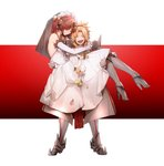 2girls armor blonde_hair carrying closed_eyes commentary_request detached_sleeves dress fate/apocrypha fate_(series) flower frankenstein's_monster_(fate) gauntlets gloves greaves hair_over_eyes high_heels highres horn laughing mordred_(fate)_(all) multiple_girls no-kan pink_hair princess_carry sharp_teeth teeth wedding_dress