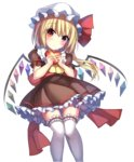 1girl alternate_costume ass_visible_through_thighs blonde_hair blush bow brown_dress crystal demon_wings dress eyebrows_visible_through_hair flandre_scarlet frilled_shirt_collar frills gift hat hat_ribbon head_tilt heart-shaped_box highres holding holding_gift janne_cherry knees_together_feet_apart long_hair looking_at_viewer mob_cap puffy_short_sleeves puffy_sleeves rainbow_order red_bow red_eyes red_ribbon ribbon sash short_sleeves side_ponytail solo standing tareme thigh_gap thighhighs touhou valentine w_arms white_hat white_legwear wings zettai_ryouiki